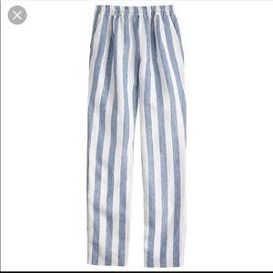 J Crew white striped linen pants